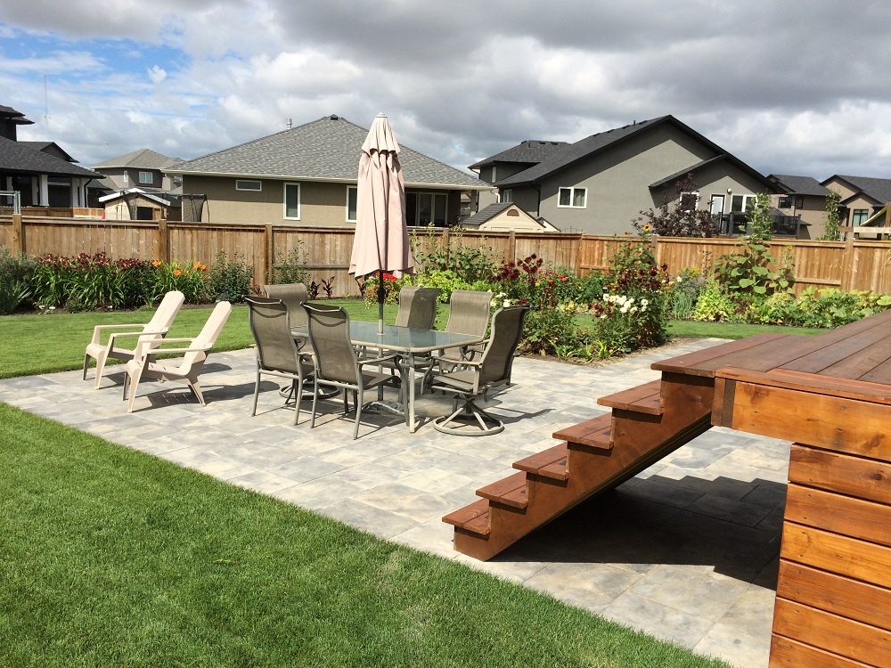 paving stone patio and landscaping